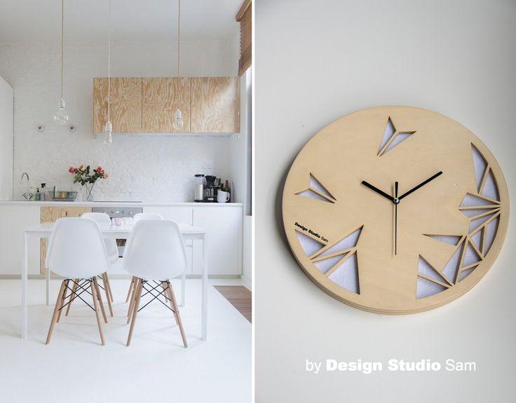 Design Studio Sam II Klok II Houd je van een licht interieur met houten details? Dan is deze materiaal -en kleurcombinatie van de klok helemaal iets voor jou! www.designstudiosam.nl