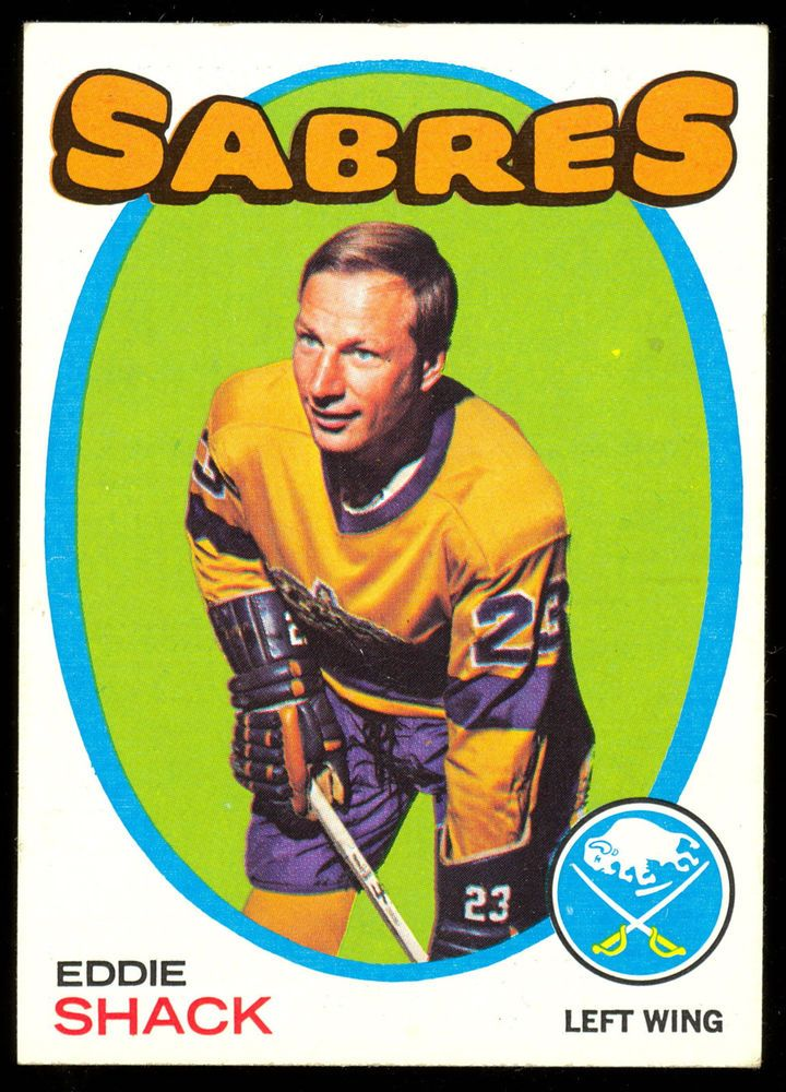1971 72 TOPPS HOCKEY #96 EDDIE SHACK NM BUFFALO SABRES FREE SHIP TO USA #BuffaloSabres