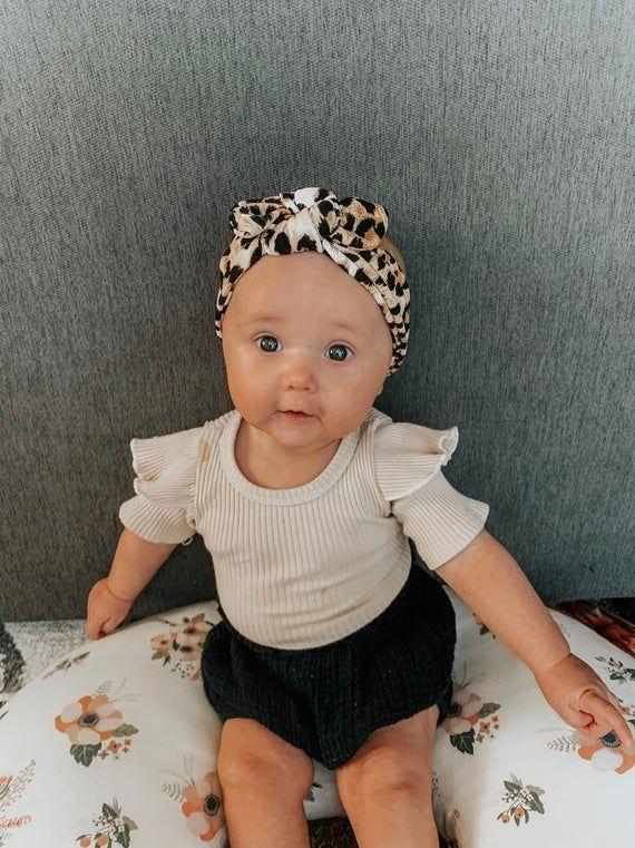 Black polka dot top knot headband baby infant newborn toddler