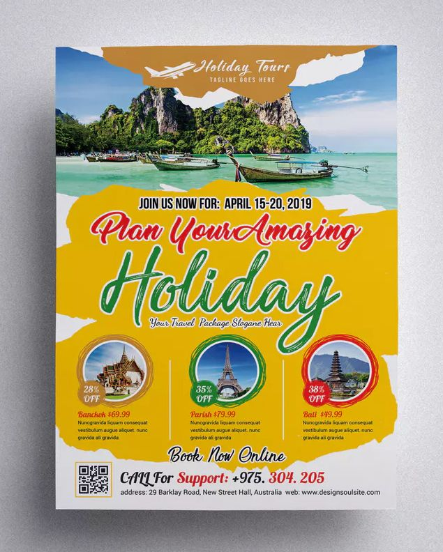 Travel Flyer Template Psd Print Size 8271169 Inches Bleed