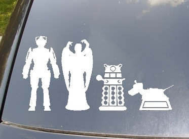 Doctor Who - my kind of family I feel sorry for whoever gets behind this car because they'll have to stare at the angel and then they might get in a wreck... If they are die hard whovians like me at least