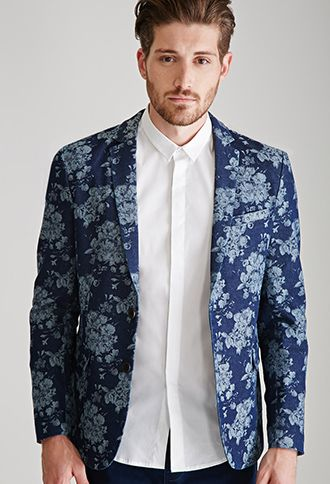 Mauricio bought the jacket only $55 Forever 21 Man Rose-Patterned Denim Blazer | 21 MEN - 2000100094