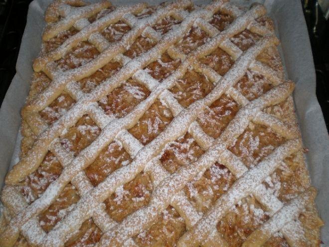 Mřížkový koláč - Ze všech surovin vypracovat těsto a to rozdělit na 2 poloviny. 1polovinu těsta rozložit na plech s peč.papírem na těsto nastrouhat jablíčka a z druhé p..