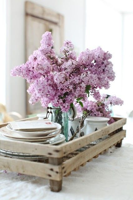 great old wood tray with dishes and lilacs I can almost smell the lilacs, bring on spring!