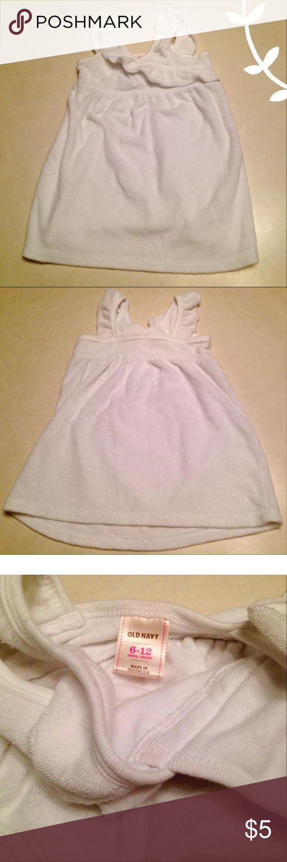 Old Navy swimsuit cover White terry cloth Old Navy swimsuit cover size 6-12 months Old Navy Dresses