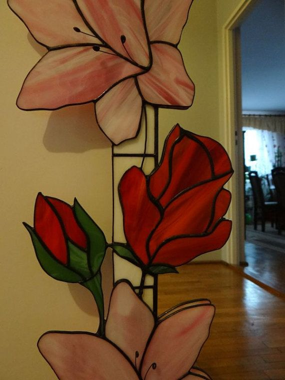Lily & Rose Tiffany Style Stained Glass Mirror by ArtesanaPL