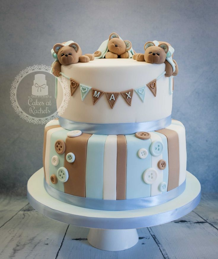 Cute teddy bear Christening cake with stripes and buttons. Love the soft browns and blues! www.facebook.com/Cakes.at.Rachels