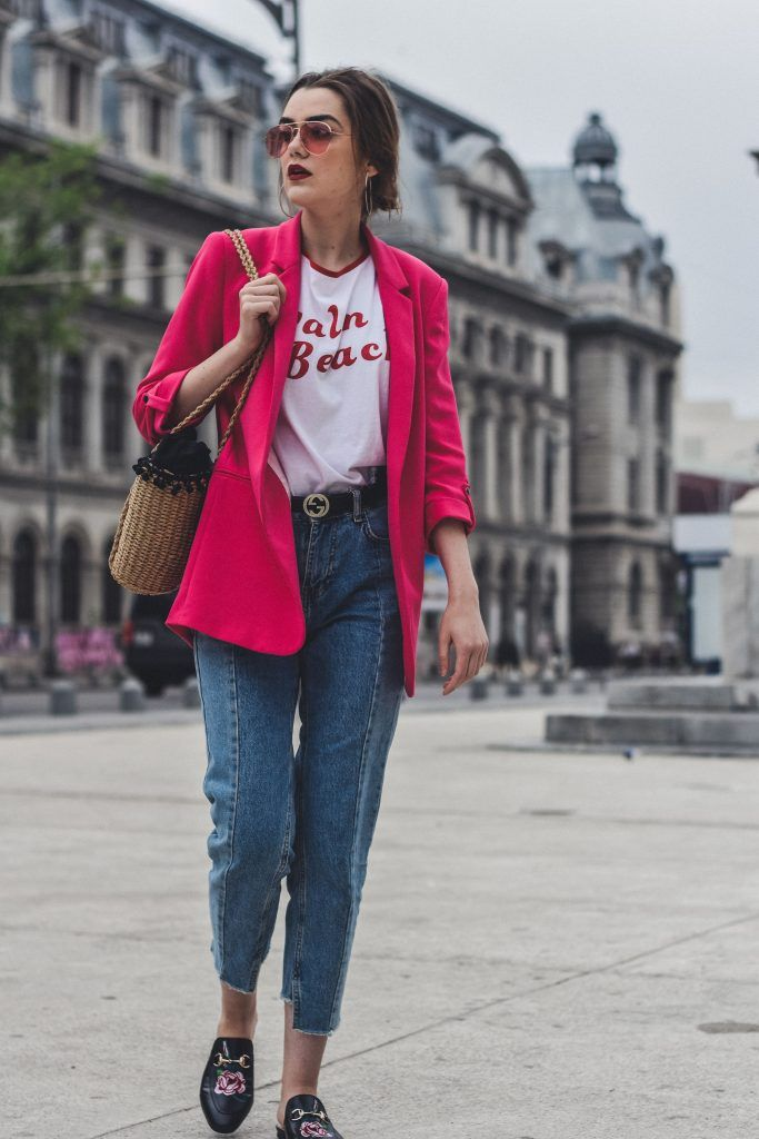 Zara pink blazer, mango pannel retro graphic t-shirt, asos printed tee, woven bag, straw bag, raffia bag, the best bag you will wear all summer, boohoo graphic tee, fuchsia blazer, topshop step hem two tone mom jeans, deconstructed denim, on trend jeans, best jeans of 2017, h&m tinted sunglasses, gucci lflower embroidered loafers, gucci loafers, mules, gucci dupe mules, riversisland woven bag, andreea birsan, couturezilla, silver hoop earrings, accessories, double g gucci belt, leather belt…