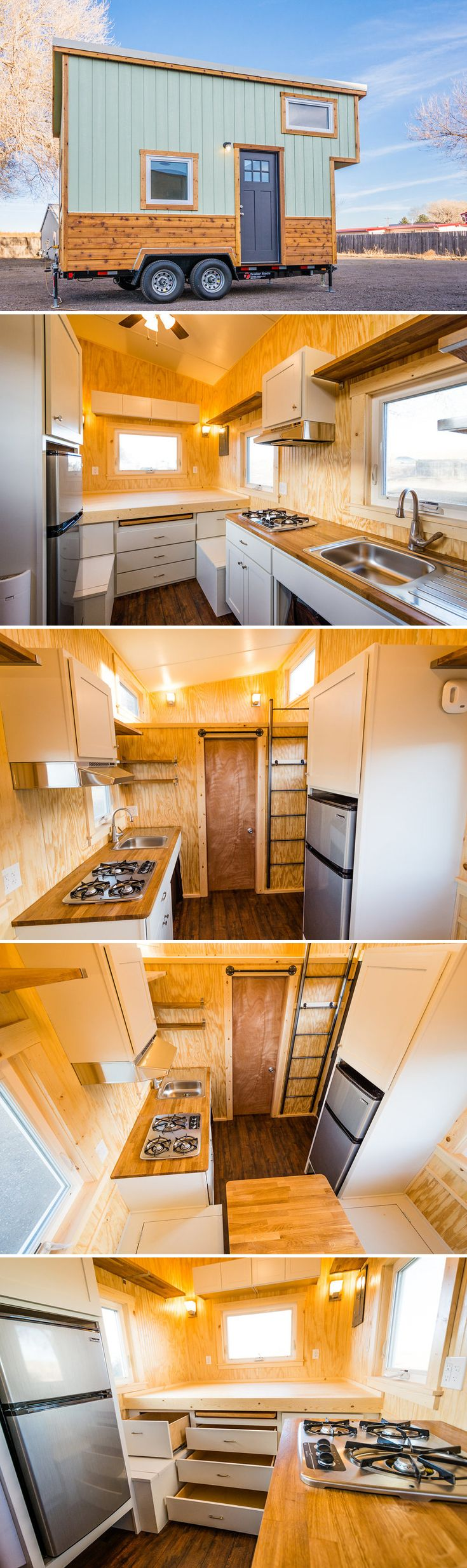 This custom 16' tiny house features a main level sleeping platform and an additional sleeping loft with ladder access. Sale price: $39,000.