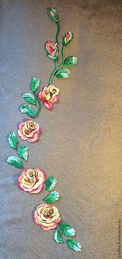 Вязаная композиция Чайные розы - коралловый,цветочный,ирландские кружева