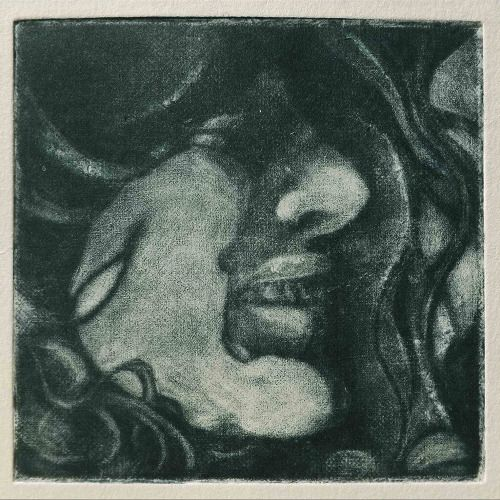 Laura Kozma: SELF IN POSITIVE (mezzotint) ...because I scanned my face and I liked it