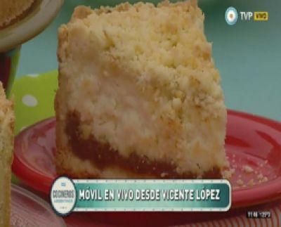 Tarta crocante de ricota y dulce de leche