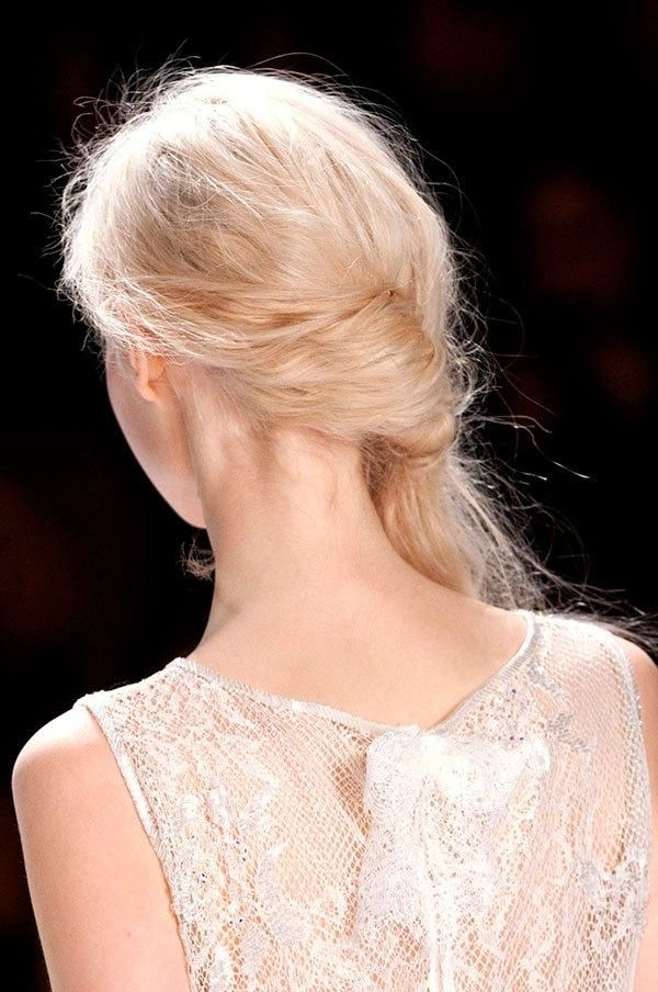 Prom hairstyles for thin hair - beachy, textured hair twisted + pinned into a ponytail