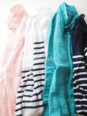 2015初夏 ①リネンシャツ(ピンクオレンジ) ②リネンセーター(ホワイト×ネイビー) ③リネンシャツ(ホワイト) ④リネンシャツ(ターコイズブルー) ⑤リネンセーター(ネイビー×ホワイト)