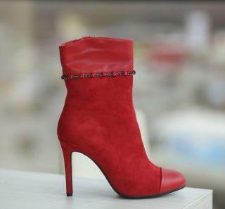 Botine rosii cu toc stiletto elegante