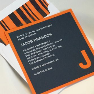 Bold and masculine bar mitzvah invitation, just like I like my men.