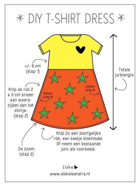 Van een t-shirt en een meter stof maak je heel eenvoudig een te gek jurkje!