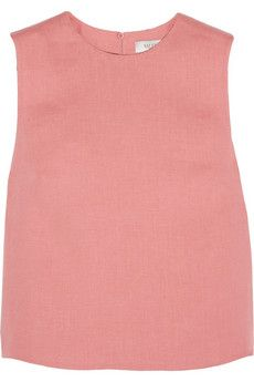 So cute with that matching skirt! Valentino Cropped linen top | NET-A-PORTER