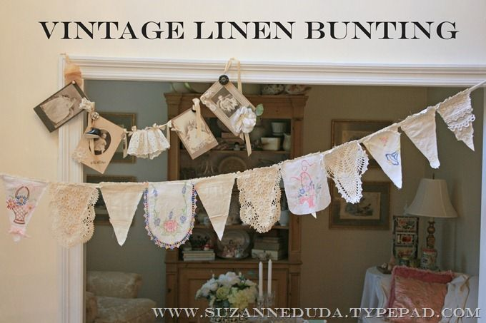 Old (pretty) linens, cottons, and lace made into vintage linen bunting