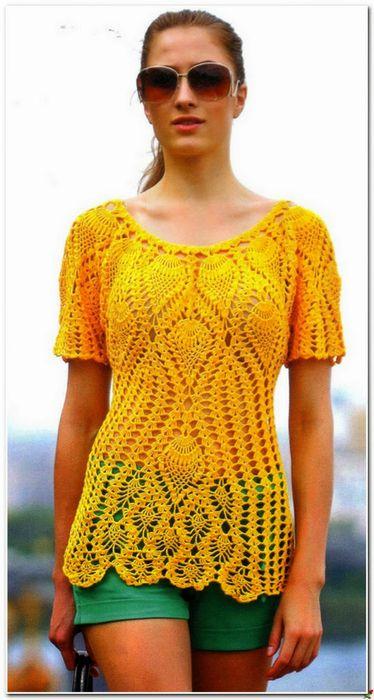 """Желтая """"ананасовая"""" блузка"""