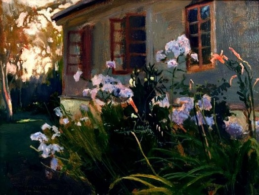 Jan Stanisławski | Irysy przed chałupą wiejską/ Irises in front of the hut, from collection of Sylwin Strakacz   (secretary of Ignacy Paderewski, Polish pianist and former Prime Minister). On exhibition in Metropolitan Museum of Art, NY in 1944-45.