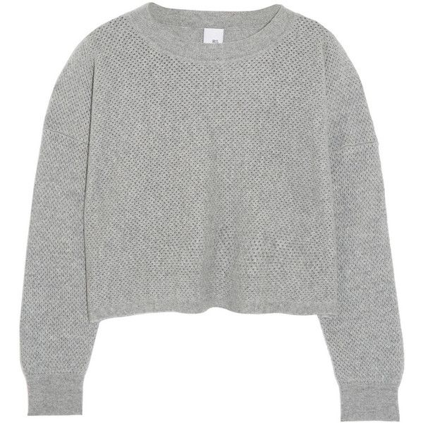 Iris and Ink Dakota cropped pointelle-knit cashmere sweater ($225) ❤ liked on Polyvore featuring tops, sweaters, jumpers, outerwear, grey, loose crop top, grey jumper, cropped sweater, boxy sweater and grey crop top