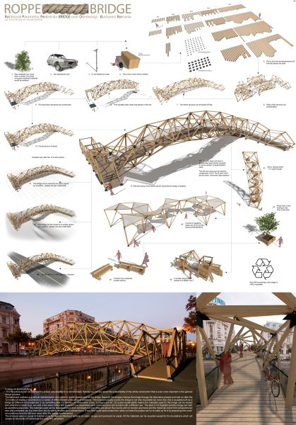 Rotational Parametric Pedestrian Bridge over Dambovita Bucharest Romania
