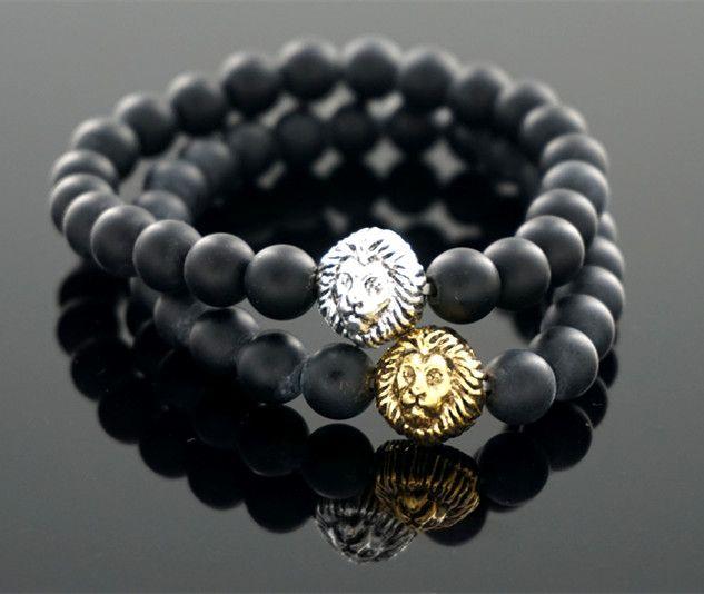 Hot Sale Lion Mens Black Lava Rock Stone Bead Elastic Rosary Bracelet Homme Bangle Northskull Armbanden Voor Vrouwen Tom Hope
