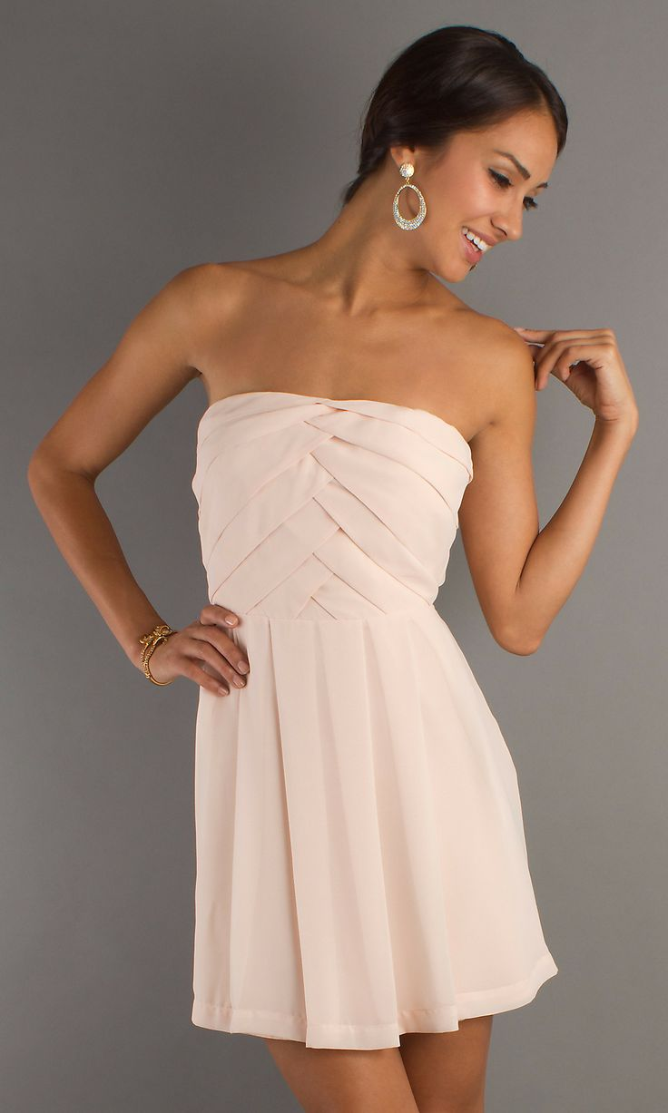 2014 Popular A-line Strapless Short/Mini Chiffon Pearl Cheap Party Dresses #AUSA0250338 - Homecoming Dresses