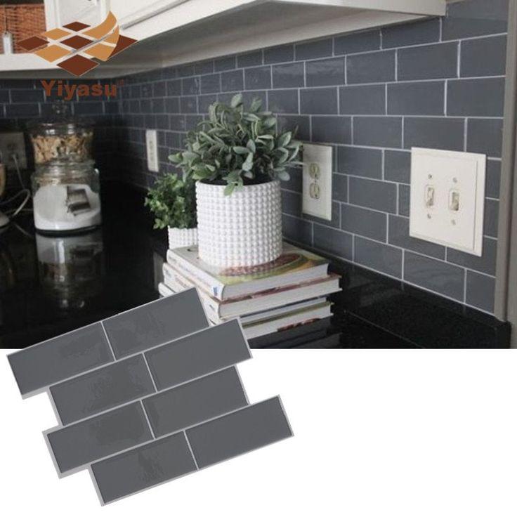 Grey Brick Subway Tile Peel And Stick Self Adhesive Wall Decal Sticker Diy Kitchen Bathroom Home