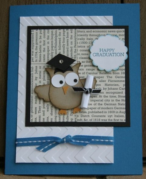 Stampin' Up Owl Graduation Card. Change the card stock colors to reflect your grad's school colors.