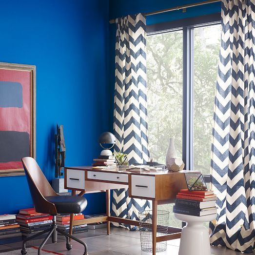 Zigzag curtain blue lagoon cotton canvas west elm and curtains