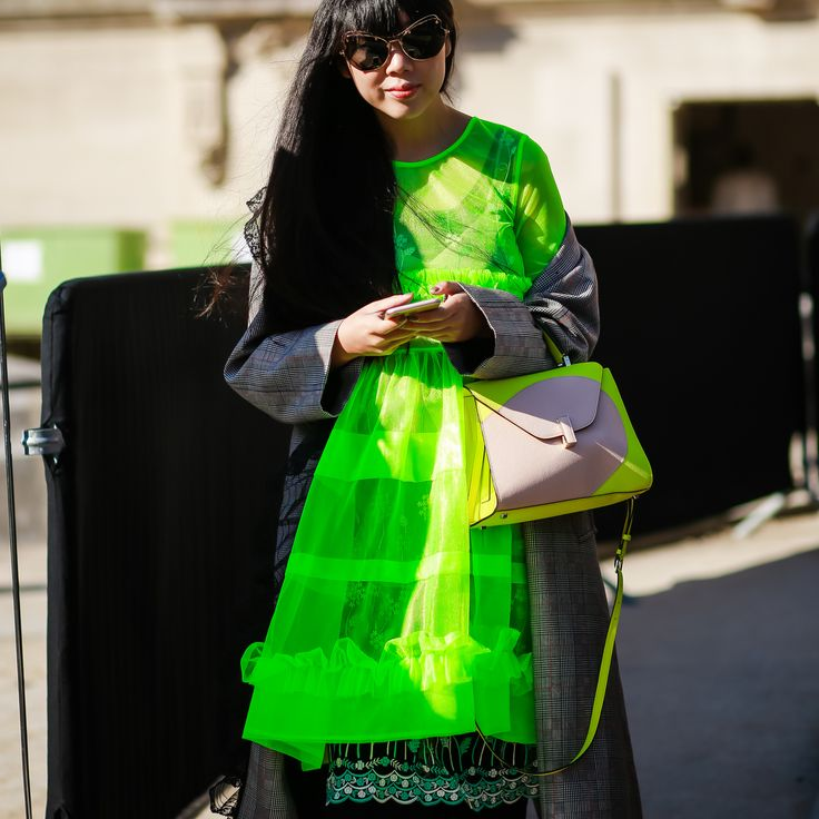 Influencer Susie Lau (Bubble) outside the Chanel show
