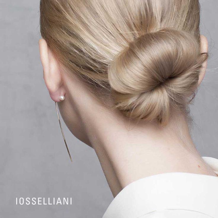 9K gold single thread mono earring and stud aside, freshwater pearls.  #iosselliani
