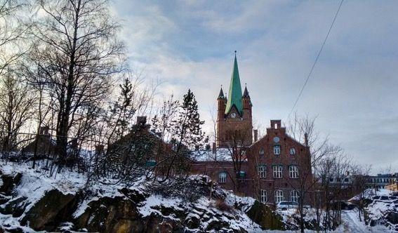 Arquitectura e neve em Oslo, na Noruega