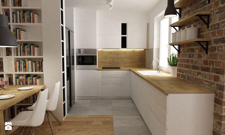 mieszkanie jasne w stylu nowoczesnym/skandynawskim 60m2 - Średnia otwarta kuchnia w kształcie litery l, styl skandynawski - zdjęcie od Grafika i Projekt architektura wnętrz