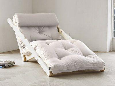 Fauteuil chaise longue en bois avec matelas futon FIGO 70