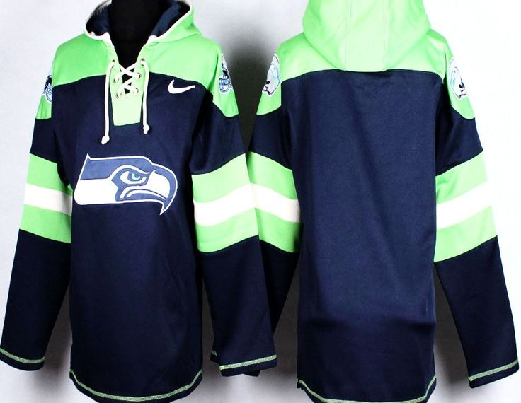 Designed after NHL hockey jersey . Now you can show support for the Seahawks team , not just a player with this Seattle Seahawks pullover Hoodie. This Hoodie is made of 100% polyester with a fleece li