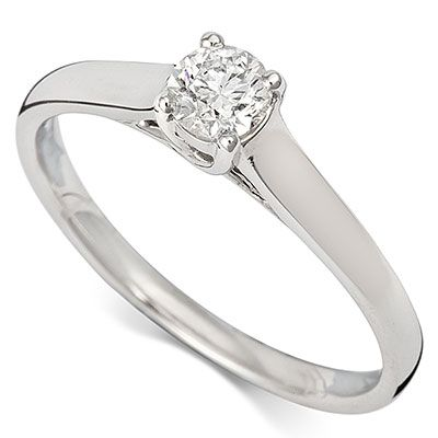 9ct White Gold Diamond Solitaire Ring RD607W 0.35ct - Coolrocks