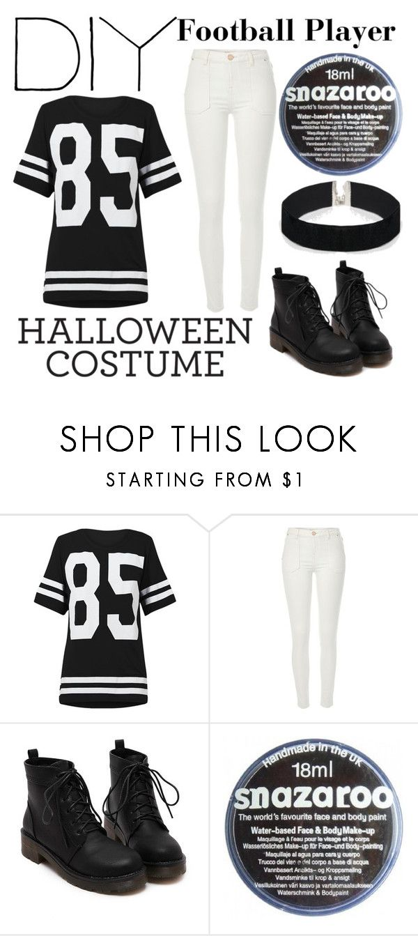 """""""DIY Halloween Costume - football player ♥"""" by jovanaa-bogdanovic ❤ liked on Polyvore featuring River Island and ASOS"""