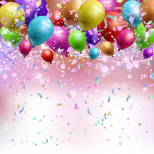 Realistic Background With Confetti And Streamers Free Vector