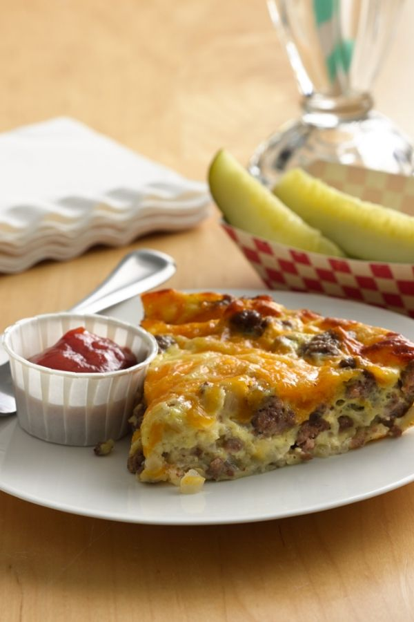 Get all the great taste of a cheeseburger magically baked in a pie. - Impossible Cheeseburger Pie