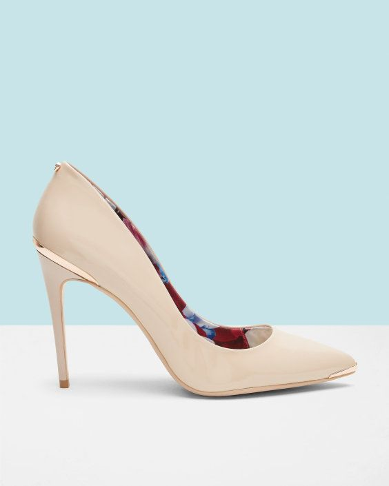 Metal detail leather court shoes - Pink | Shoes | Ted Baker AU