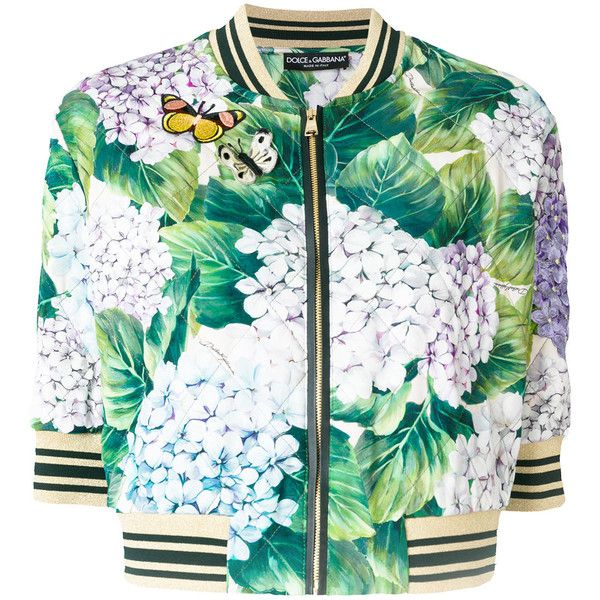 Dolce & Gabbana hydrangea print bomber jacket (118.435 RUB) ❤ liked on Polyvore featuring outerwear, jackets, green, white quilted jackets, zip front bomber jacket, white 3 4 sleeve jacket, flight jacket and white bomber jacket