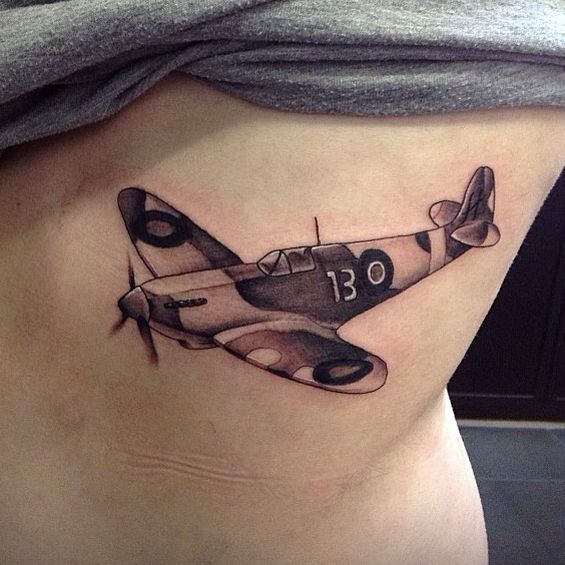 Spitfire Tattoo, done by Greg Scott at Cock A Snook tattoo parlour in Newcastle Upon Tyne, UK.