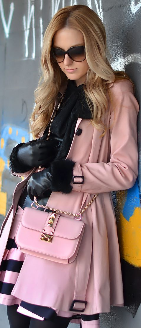 Pink and black outfit