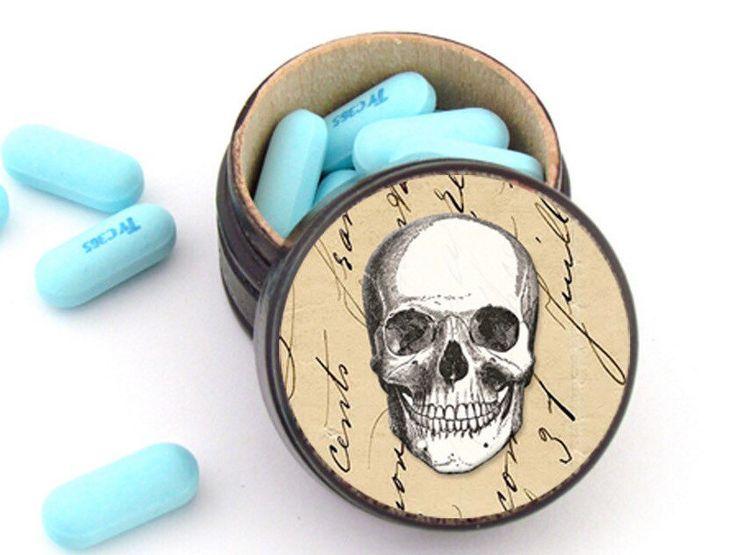 Skull Wooden Pill Box Non Toxic Vitamin Box Wedding