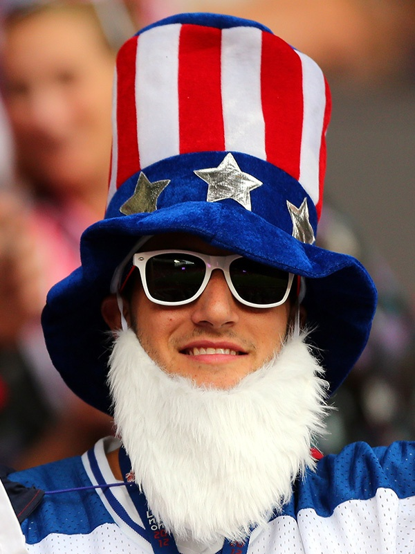 A USA fan during the Women's Football Semi Final match between Canada and USA on Day 10 of the London 2012 Olympic Games. (Photo by Stanley Chou/Getty Images)