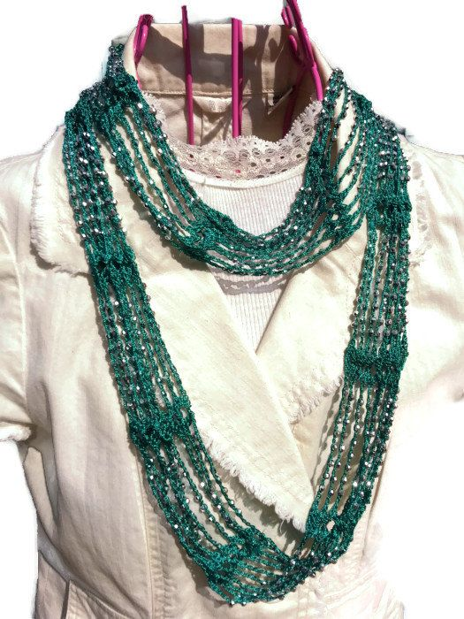SLINKY Infinity Beaded Scarf Necklace Choker Crochet Pattern on Etsy, $4.95