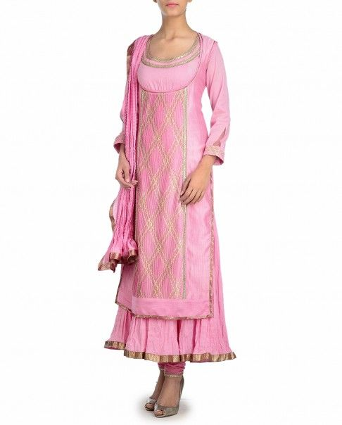 Carnation Pink Suit with Gota Work